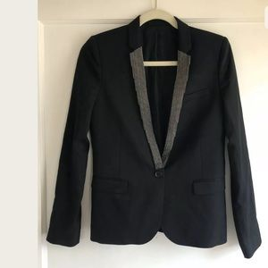 The Kooples Black Chain Blazer Jacket Size 36 XS S
